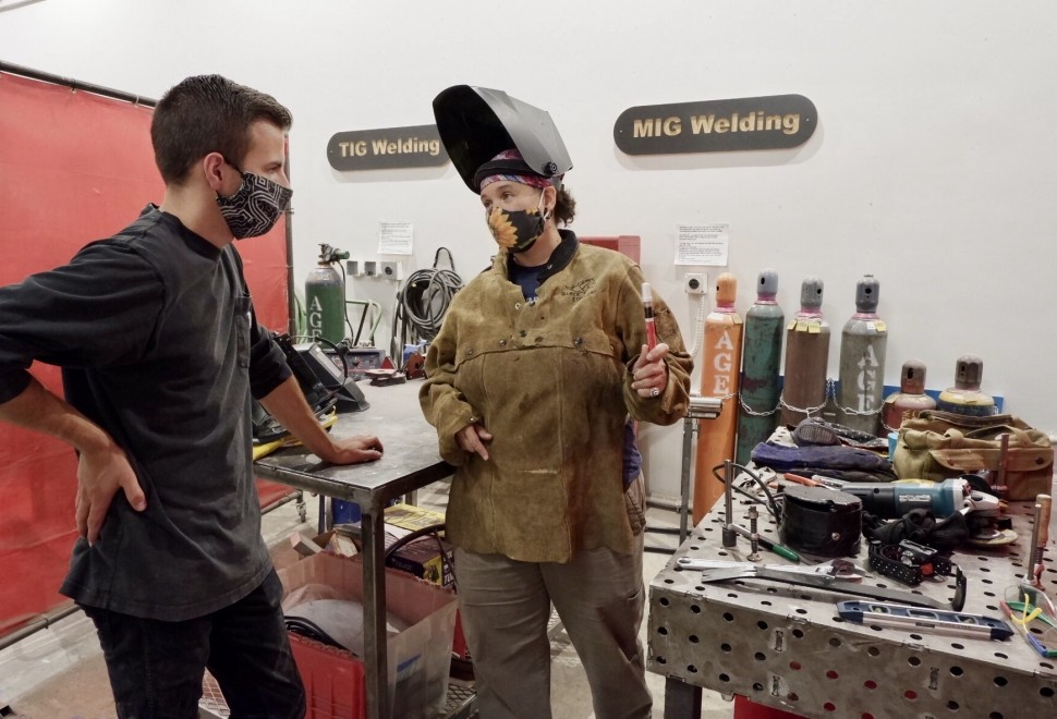 Instructor Teri covers safety concerns prior to welding